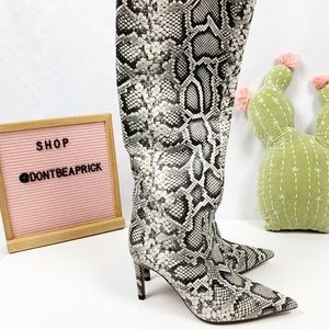 New Zara Snake Print Leather Boots (Sz: 38)